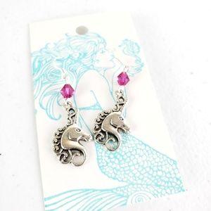 Magenta Swaorvski Crystal Unicorn Earrings